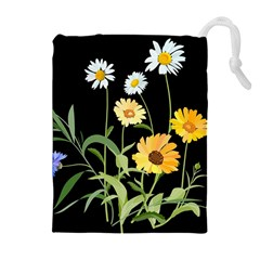Flowers Of The Field Drawstring Pouches (extra Large) by Nexatart