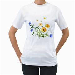 Flowers Flower Of The Field Women s T Shirt (white) (two Sided)