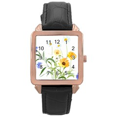 Flowers Flower Of The Field Rose Gold Leather Watch