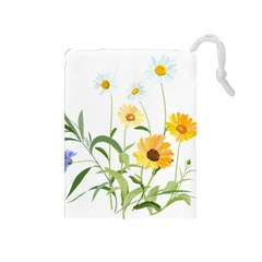 Flowers Flower Of The Field Drawstring Pouches (medium)