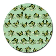 Green Butterflies Round Mousepads by linceazul