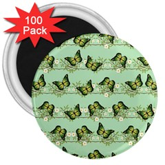 Green Butterflies 3  Magnets (100 Pack) by linceazul