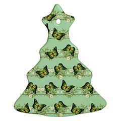 Green Butterflies Christmas Tree Ornament (two Sides) by linceazul