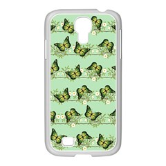 Green Butterflies Samsung Galaxy S4 I9500/ I9505 Case (white) by linceazul