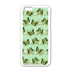 Green Butterflies Apple Iphone 6/6s White Enamel Case by linceazul