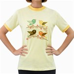 Four Birds Women s Fitted Ringer T-Shirts