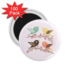 Four Birds 2 25  Magnets (100 Pack)  by linceazul