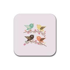 Four Birds Rubber Coaster (square)  by linceazul