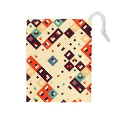 Squares In Retro Colors         Drawstring Pouch by LalyLauraFLM