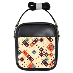 Squares In Retro Colors         Girls Sling Bag by LalyLauraFLM