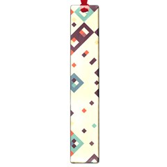 Squares In Retro Colors         Large Book Mark by LalyLauraFLM