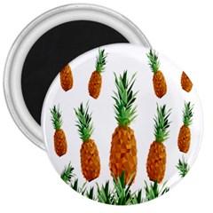 Pineapple Print Polygonal Pattern 3  Magnets by Nexatart
