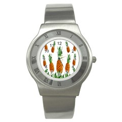 Pineapple Print Polygonal Pattern Stainless Steel Watch