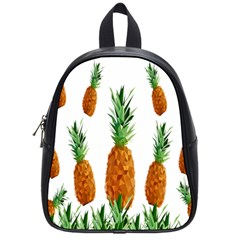 Pineapple Print Polygonal Pattern School Bags (small)  by Nexatart