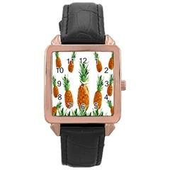 Pineapple Print Polygonal Pattern Rose Gold Leather Watch  by Nexatart