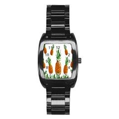 Pineapple Print Polygonal Pattern Stainless Steel Barrel Watch by Nexatart