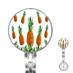 Pineapple Print Polygonal Pattern Stainless Steel Nurses Watch by Nexatart