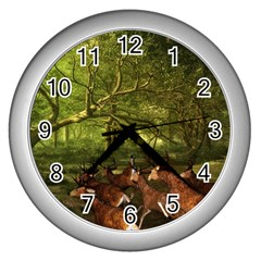 Red Deer Deer Roe Deer Antler Wall Clocks (silver)  by Nexatart