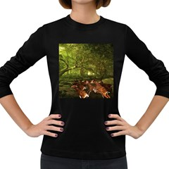 Red Deer Deer Roe Deer Antler Women s Long Sleeve Dark T Shirts