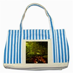 Red Deer Deer Roe Deer Antler Striped Blue Tote Bag