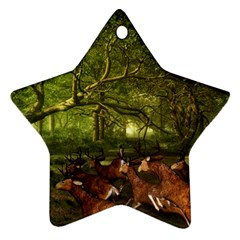 Red Deer Deer Roe Deer Antler Star Ornament (two Sides)