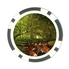 Red Deer Deer Roe Deer Antler Poker Chip Card Guard by Nexatart