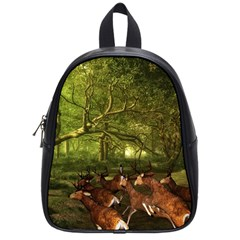 Red Deer Deer Roe Deer Antler School Bags (small)  by Nexatart