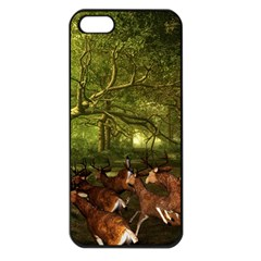 Red Deer Deer Roe Deer Antler Apple Iphone 5 Seamless Case (black)