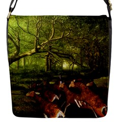 Red Deer Deer Roe Deer Antler Flap Messenger Bag (s) by Nexatart
