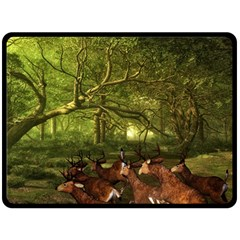 Red Deer Deer Roe Deer Antler Double Sided Fleece Blanket (large)