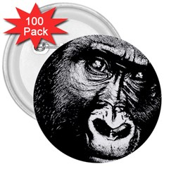 Gorilla 3  Buttons (100 Pack)  by Valentinaart