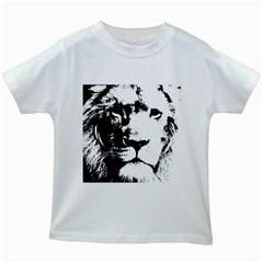 Lion  Kids White T Shirts by Valentinaart
