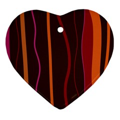Colorful Striped Background Ornament (heart) by TastefulDesigns