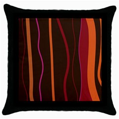 Colorful Striped Background Throw Pillow Case (black) by TastefulDesigns