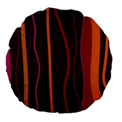 Colorful Striped Background Large 18  Premium Flano Round Cushions by TastefulDesigns