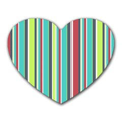 Colorful Striped Background  Heart Mousepads by TastefulDesigns