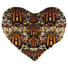 Lady Panda Goes Into The Starry Gothic Night Large 19  Premium Heart Shape Cushions by pepitasart