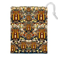 Lady Panda Goes Into The Starry Gothic Night Drawstring Pouches (xxl) by pepitasart