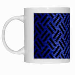 Woven2 Black Marble & Blue Brushed Metal (r) White Mug by trendistuff