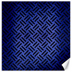Woven2 Black Marble & Blue Brushed Metal (r) Canvas 20  X 20  by trendistuff
