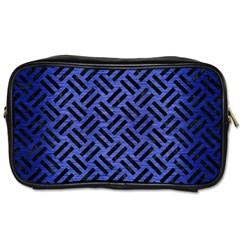 Woven2 Black Marble & Blue Brushed Metal (r) Toiletries Bag (one Side) by trendistuff