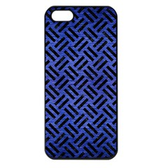 Woven2 Black Marble & Blue Brushed Metal (r) Apple Iphone 5 Seamless Case (black) by trendistuff