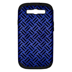 Woven2 Black Marble & Blue Brushed Metal (r) Samsung Galaxy S Iii Hardshell Case (pc+silicone) by trendistuff