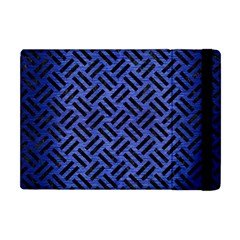 Woven2 Black Marble & Blue Brushed Metal (r) Apple Ipad Mini Flip Case by trendistuff