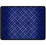 WOVEN2 BLACK MARBLE & BLUE BRUSHED METAL (R) Double Sided Fleece Blanket (Large) 80 x60 Blanket Front
