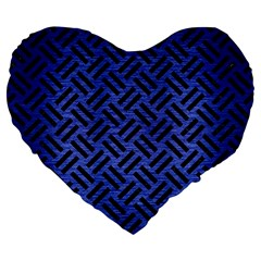Woven2 Black Marble & Blue Brushed Metal (r) Large 19  Premium Flano Heart Shape Cushion by trendistuff