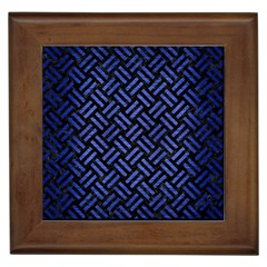 Woven2 Black Marble & Blue Brushed Metal Framed Tile by trendistuff