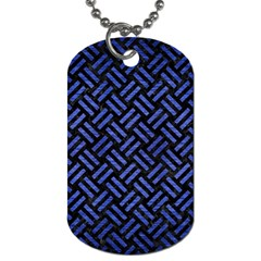 Woven2 Black Marble & Blue Brushed Metal Dog Tag (one Side) by trendistuff