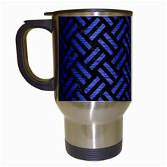 Woven2 Black Marble & Blue Brushed Metal Travel Mug (white) by trendistuff
