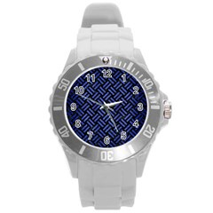 Woven2 Black Marble & Blue Brushed Metal Round Plastic Sport Watch (l) by trendistuff